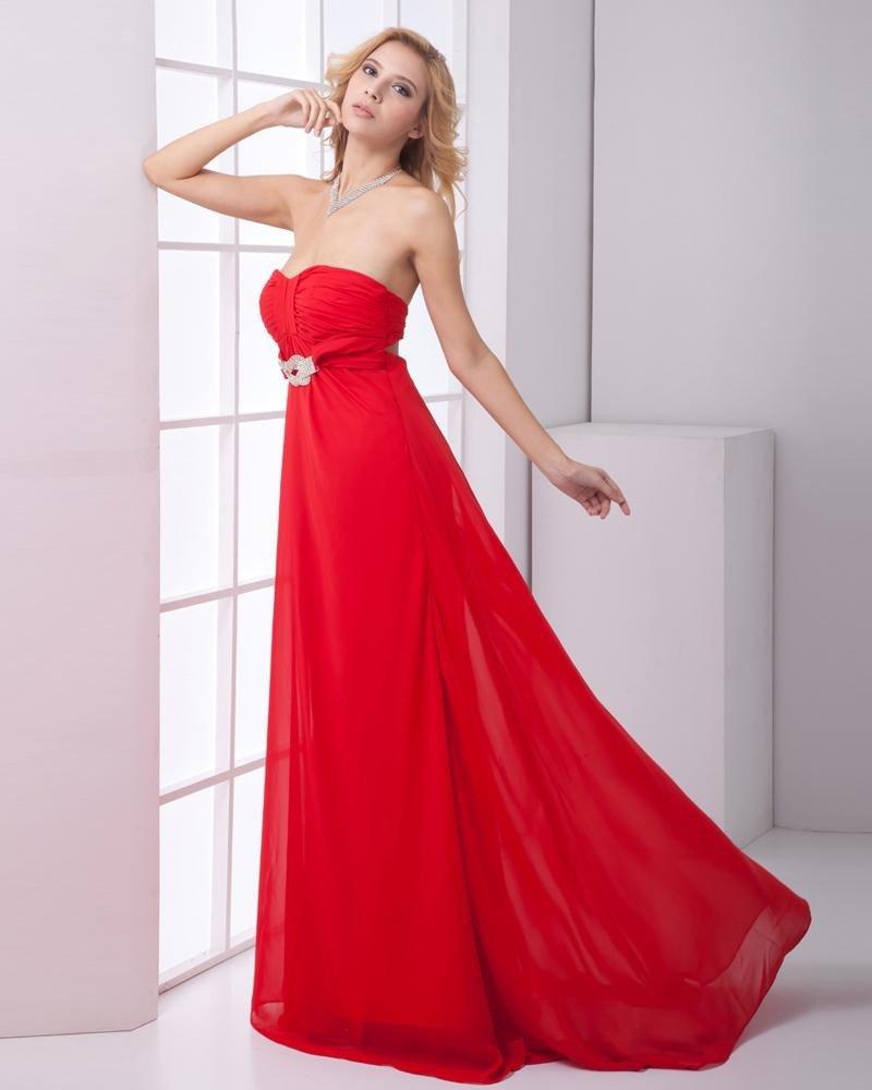Fashion Chiffon Pleated Sweetheart Sleeveless Floor Length Prom Dress