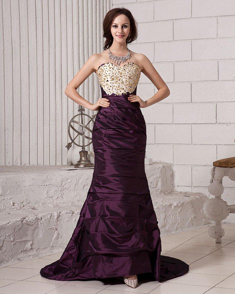 Ruffle Embroidery Beading Sweetheart Neckline Satin Women Prom Dress