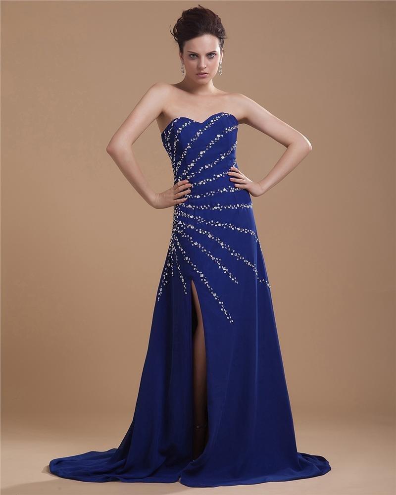 Chiffon Charmeuse Beading Embroidery Sleeveless Sweet Heart Asymmetrical Prom Dresses