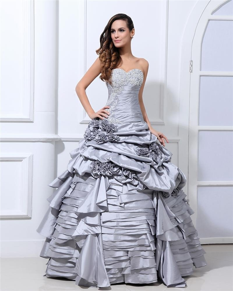 Ball Gown New Sleeveless Taffeta Flowers Embroidery Ruffles Applique Sweetheart Floor Length Quincea