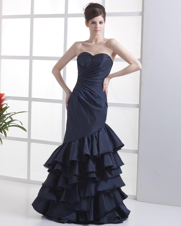 Taffeta Organza Strapless Floor-Length Celebrity Prom Dresses