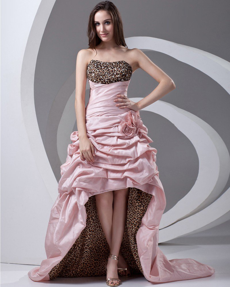 Taffeta Ruffle Flower Floor Length Leopard Prom Dress