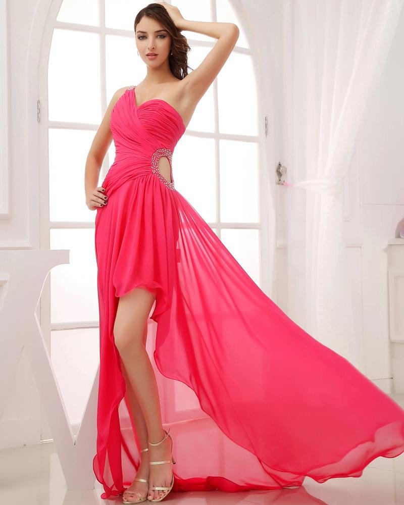 One Shoulder Sleeveless Asymmetrical Length Beading Pleated Chiffon Woman High Low Prom Dress
