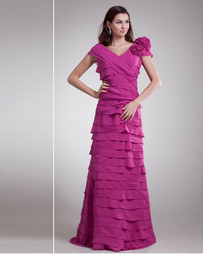 Chiffon Flower Ruffle V Neck Floor Length Tiered Prom Dress
