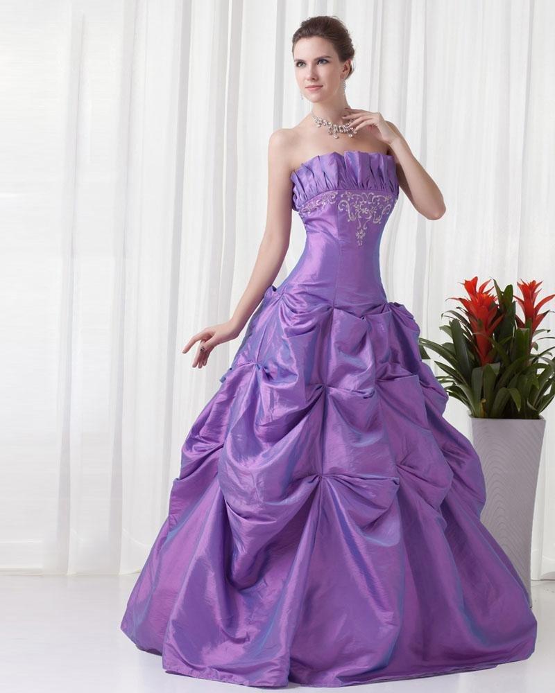 Strapless Floor Length Embroidery Beading Pleated Taffeta Women Prom Dress