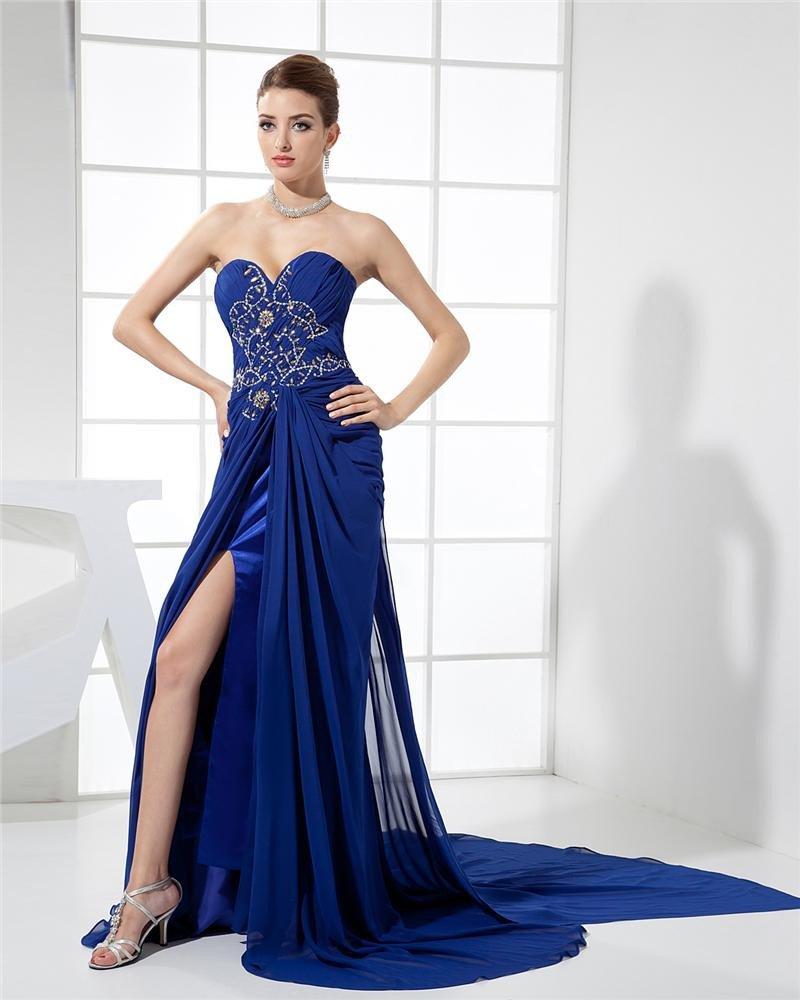Sweetheart Sleeveless Applique Beading Zipper Floor Length Chiffon Elastic Silk Like Satin Silk Woma