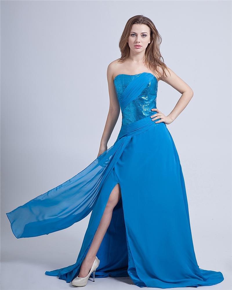 Paillette Chiffon Strapless Sleeveless Prom Dress