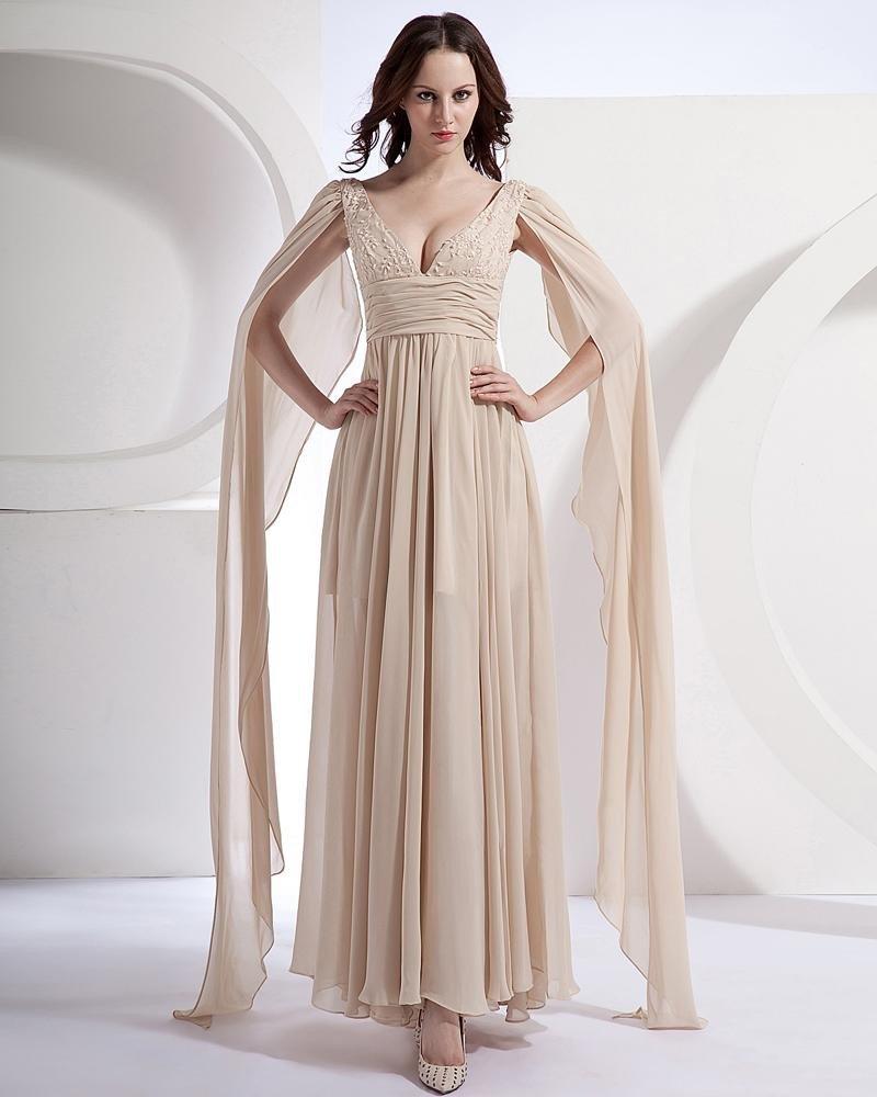 Chiffon Ruffle Beads V Neck Floor Length Prom Dresses