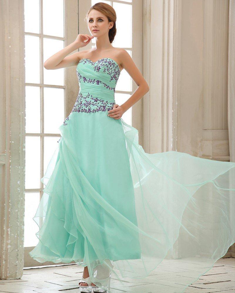 Ruffle Embroidery Sweetheart Neck Zipper Chiffon Women Prom Dress