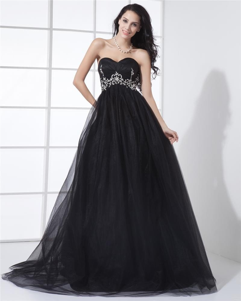 Organza Satin Silk Ruffle Sweetheart Sleeveless Zipper Court Train Tiered Prom Dresses