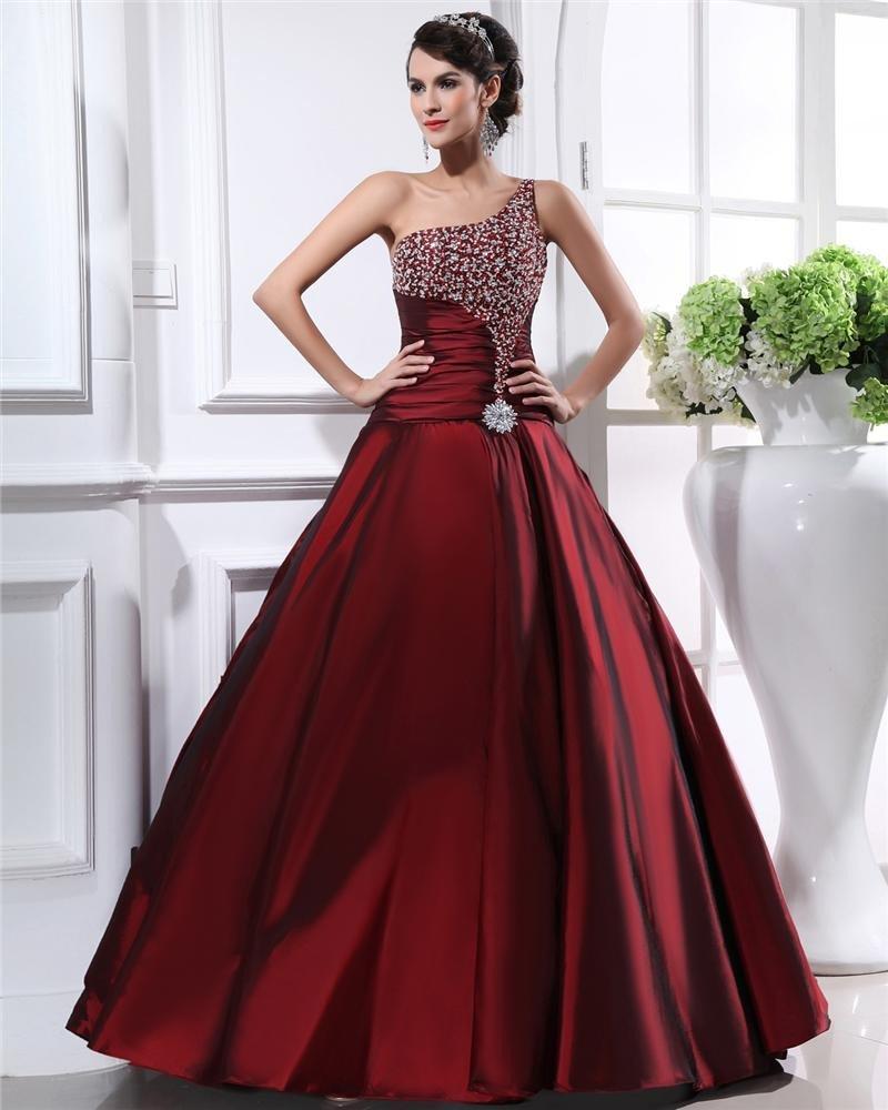 Taffeta Ruffles Beads One Shoulder Floor Length Prom Dress