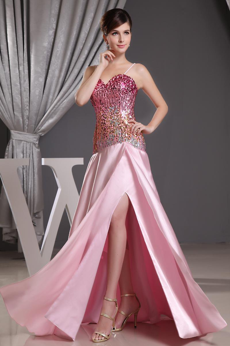 Stylish Silk Silk Like Satin Spaghetti Straps Sequins Sleeveless Zipper Floor Length Slit Prom Dress