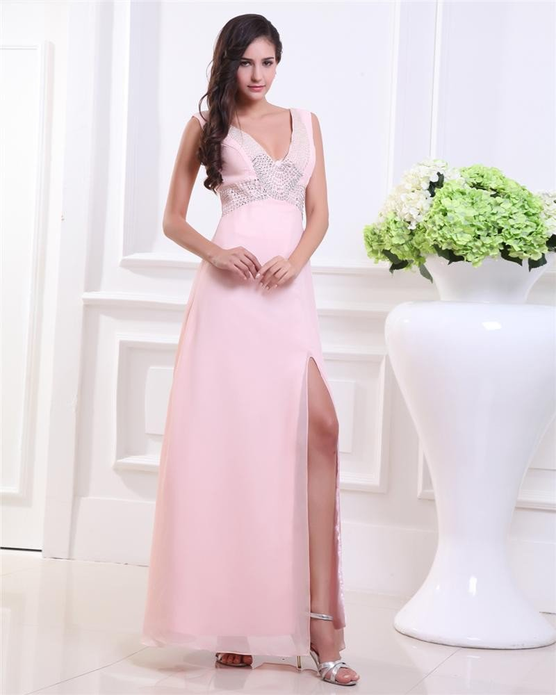 V Neck Beading Ankle Length Chiffon Woman Prom Dress