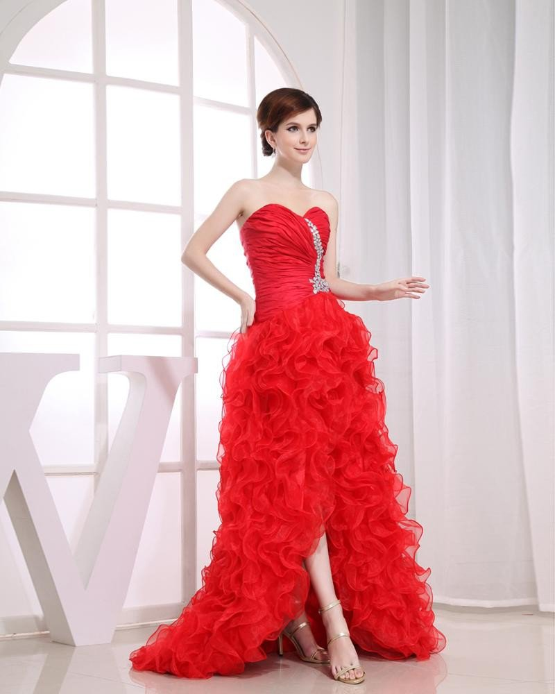 Chiffon Silk Beadings Ruffle Sweetheart Sleeveless Backless Court Train Asymmetrical Prom Dress
