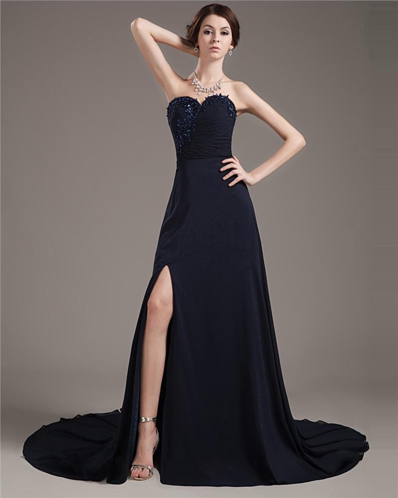 Satin Tulle Beading Embroidery Sweetheart Asymmetrical Prom Dresses