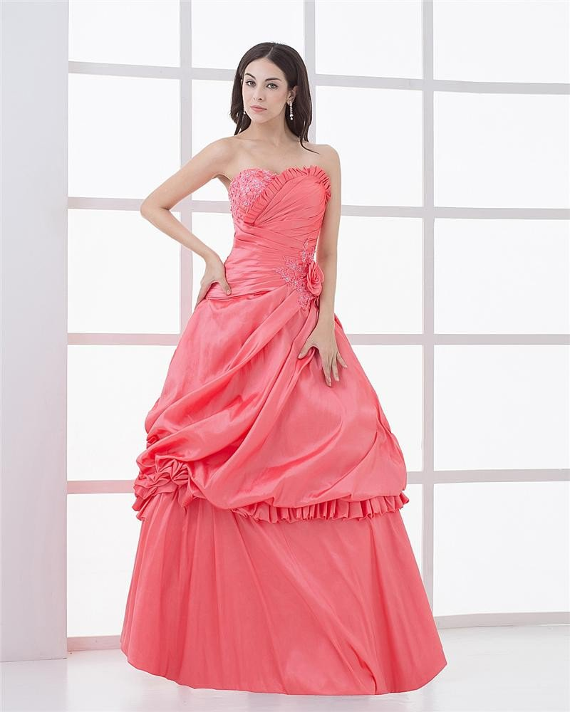 Ball Gown Charmeuse Ruffle Applique Beaded Sweetheart Floor Length Quinceanera Prom Dresses