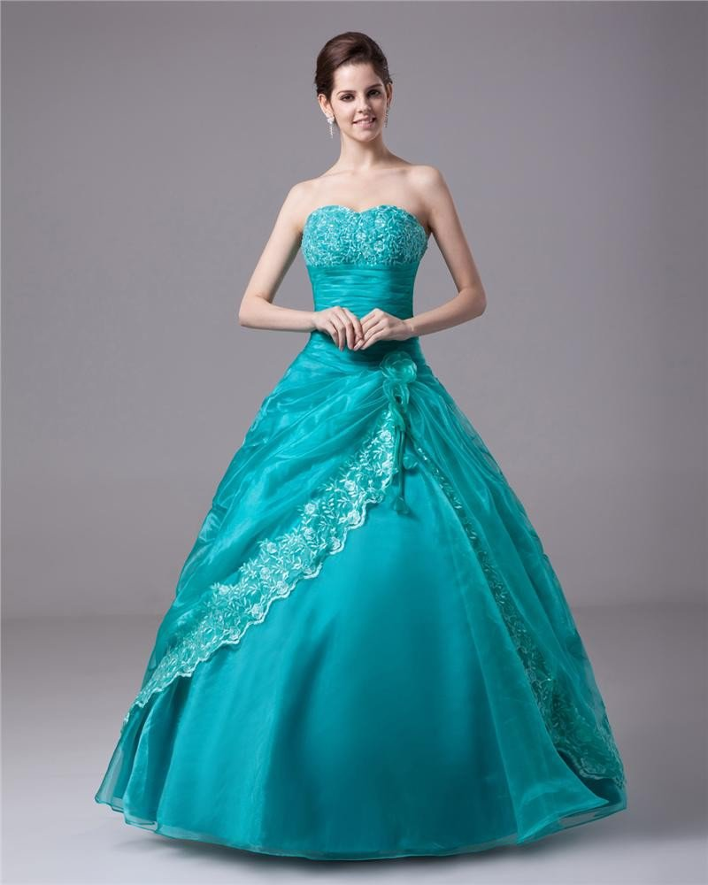 Ball Gown A-Line Strapless Yarn Satin Floor Length Women's Quinceanera Prom Dress