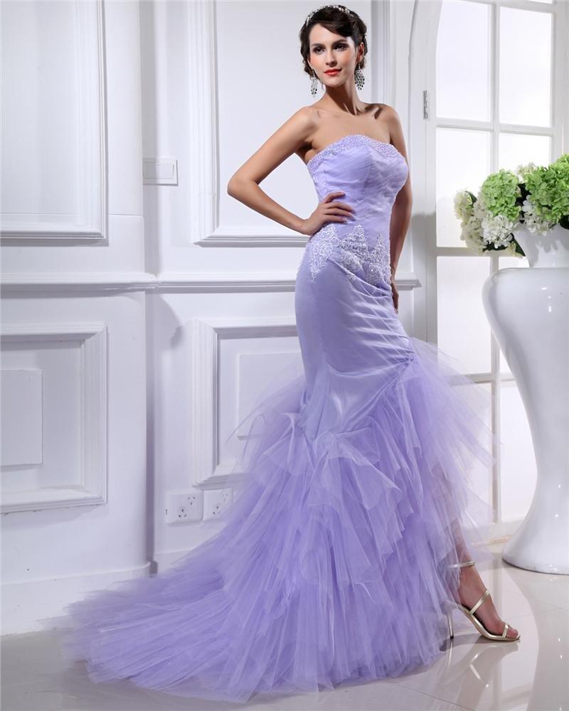 Trumpet Strapless Floor Length Satin Sewn Beads Prom Dress