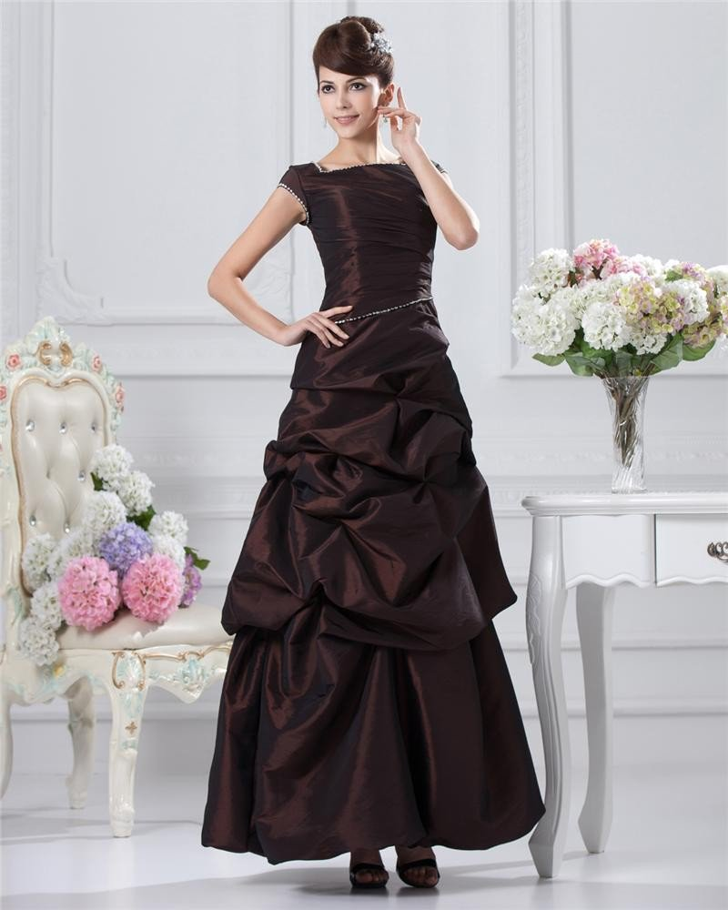 A-line Square Short Sleeve Floor-length Taffeta Prom Dress