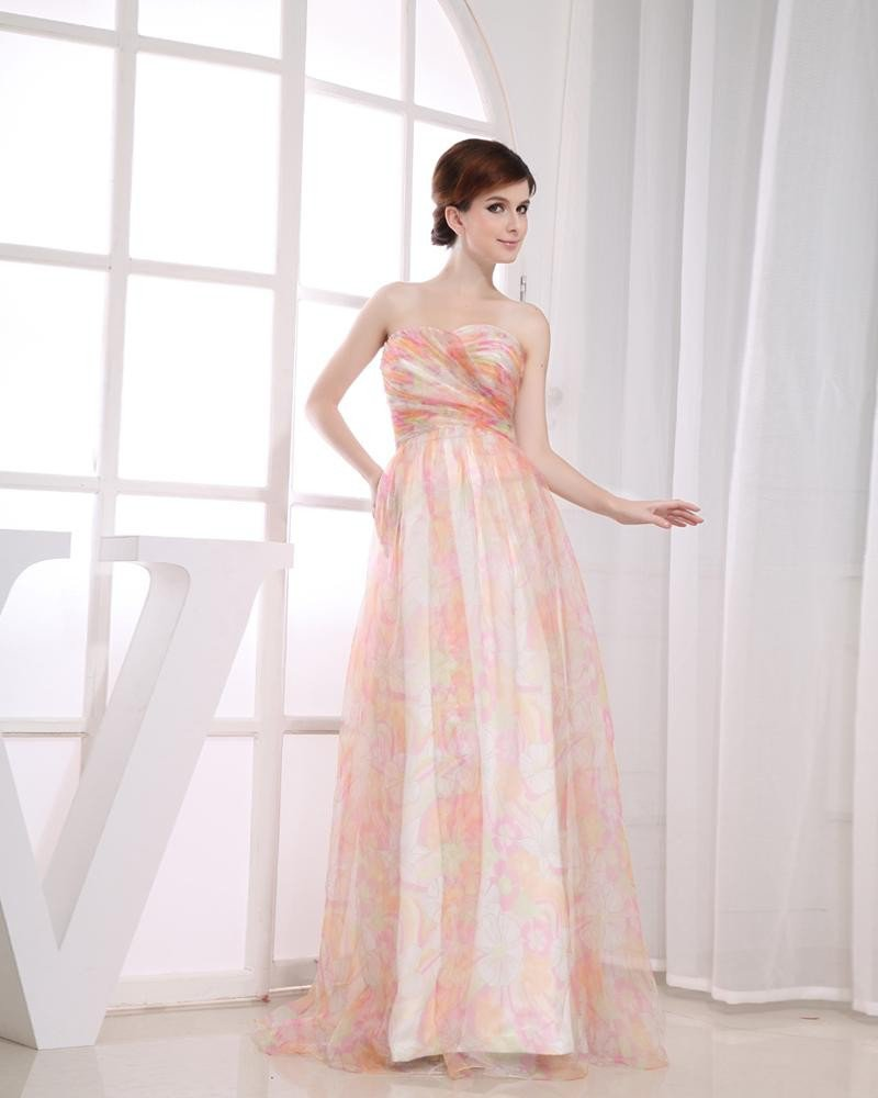 Chiffon Silk Yarn Flower Print Sweetheart Sleeveless Zipper Floor Length Pleated Prom Dress