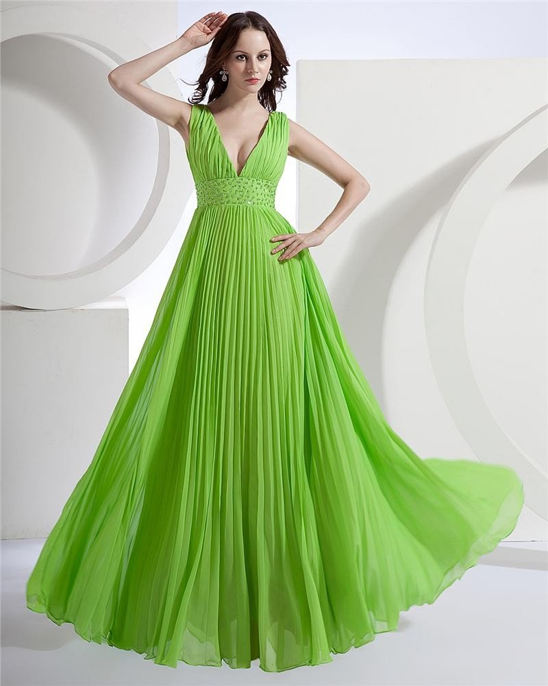 Sheath V-Neck Sleeveless Floor Length Satin Prom Dress
