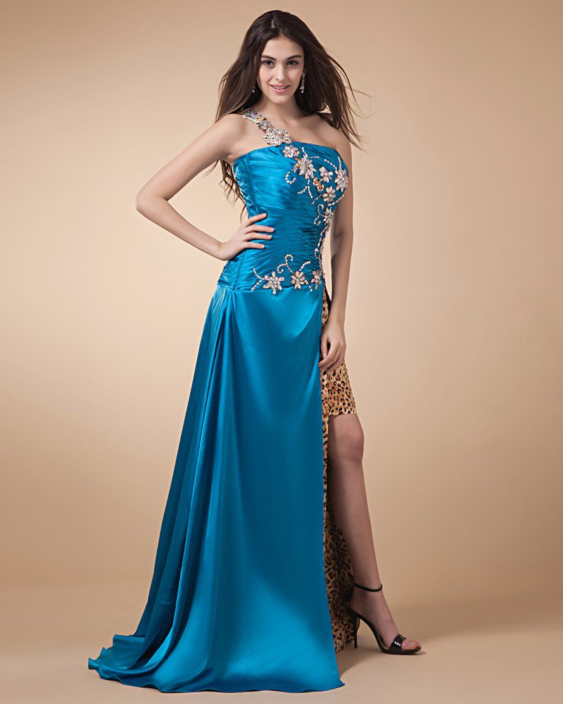 Polyester Beads Ruffle One Shoulder Floor Length Prom Dresses