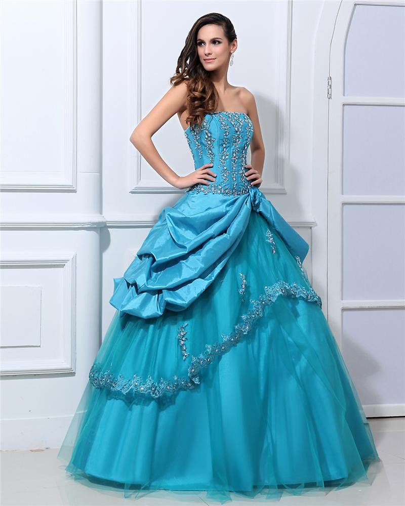 Ball Gown Satin Tulle Embroidery Sweetheart Floor Length Quinceanera Prom Dresses