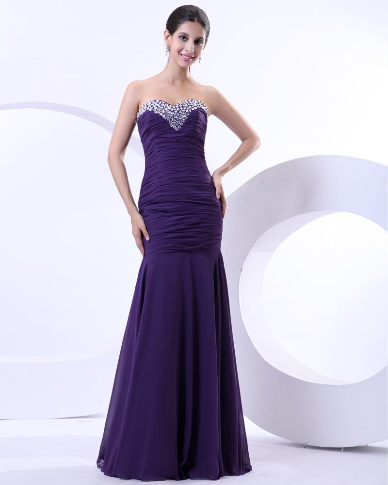 Charmeuse Ruffle Beading Sweetheart Mermaid Floor Length Prom Dresses