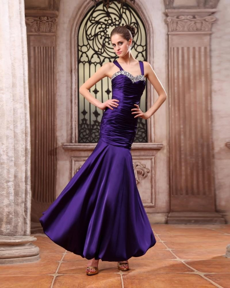 Shining Chiffon Ruffle Beading Halter Floor Length Prom Dresses