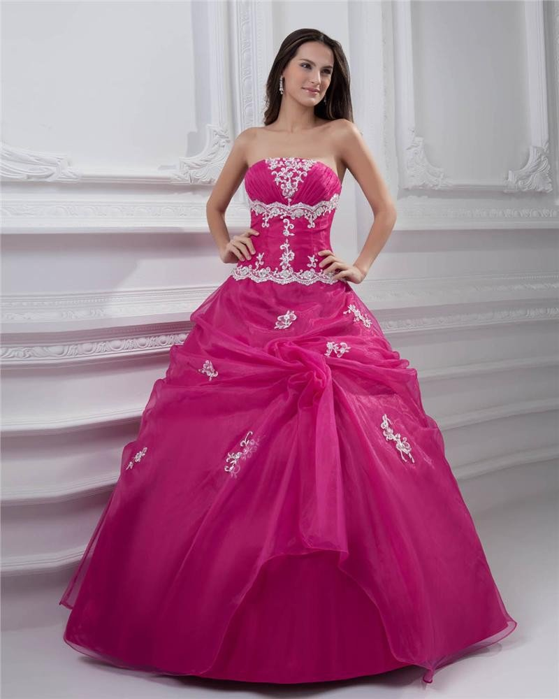 Ball Gown Satin Organza Embroidery Strapless Floor Length Quinceanera Prom Dresses