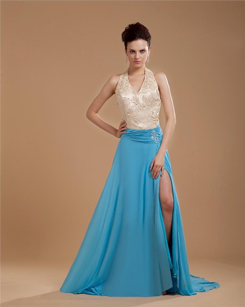 Chiffon Applique Beading Halter Floor Length Slit Prom Dress