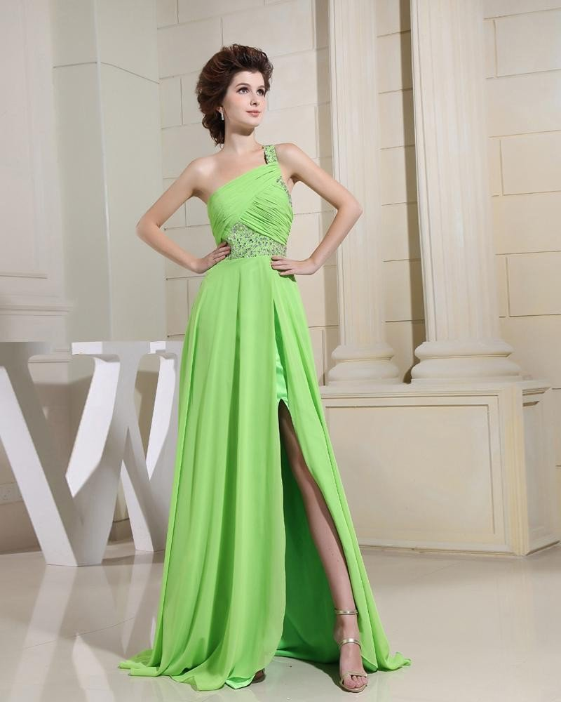 One Shoulder Sleeveless Backless Floor Length Beading Chiffon Elastic Silk Like Satin Silk Woman Pro