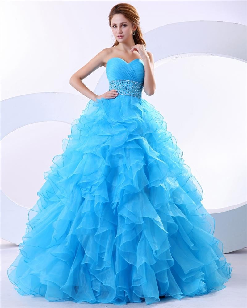 Ball Gown Ruffle Beaded Sweetheart Organza Floor Length Quinceanera Prom Dresses
