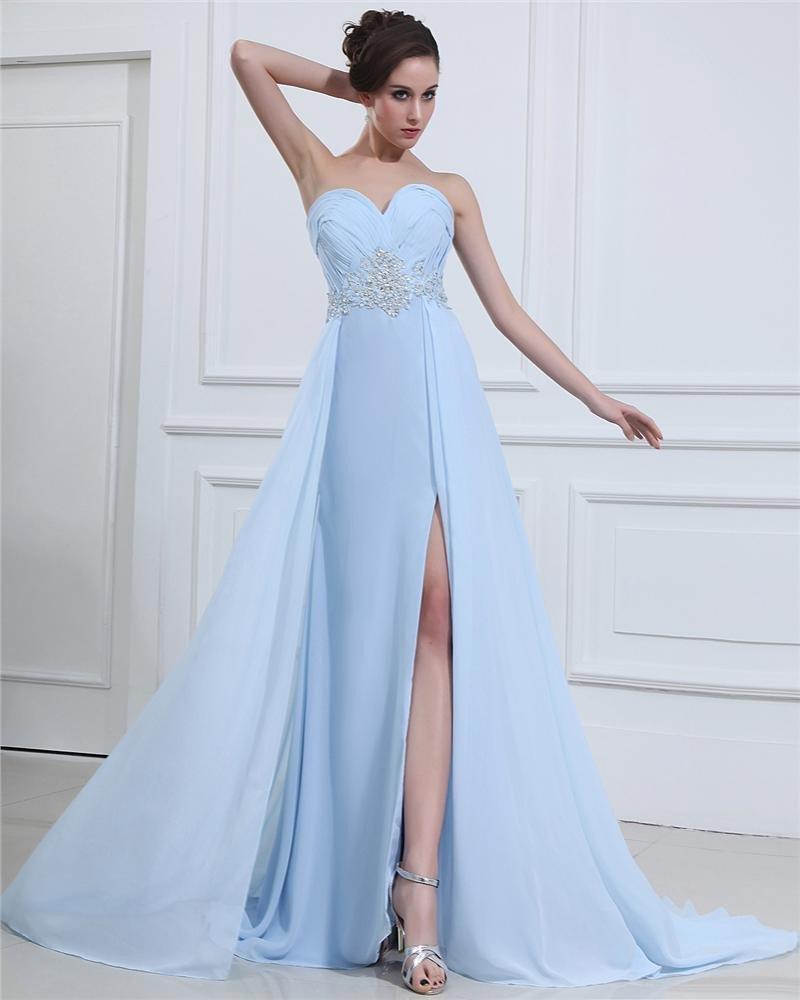 Sexy Sweetheart Beading Chiffon Ruffle Floor Length Prom Dresses