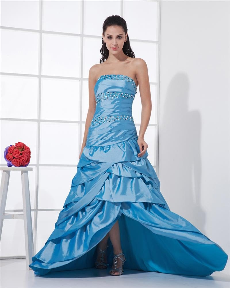Floor Length Strapless Neckline Sleeveless Beading Pleated Taffeta A-Line Woman Prom Dresses
