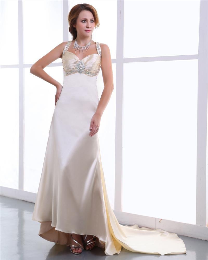 Charmeuse Sweetheart Pleated Beading Backless Floor Length Prom Dresses