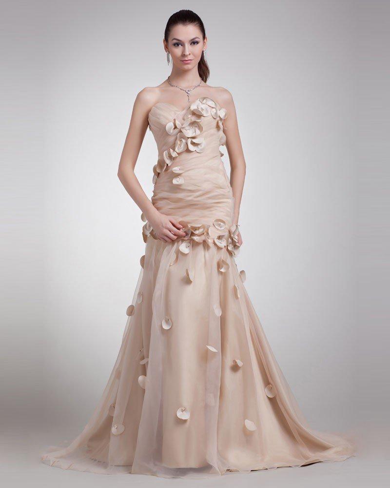 Organza Applique Ruffle Sweetheart Floor Length Prom Dress