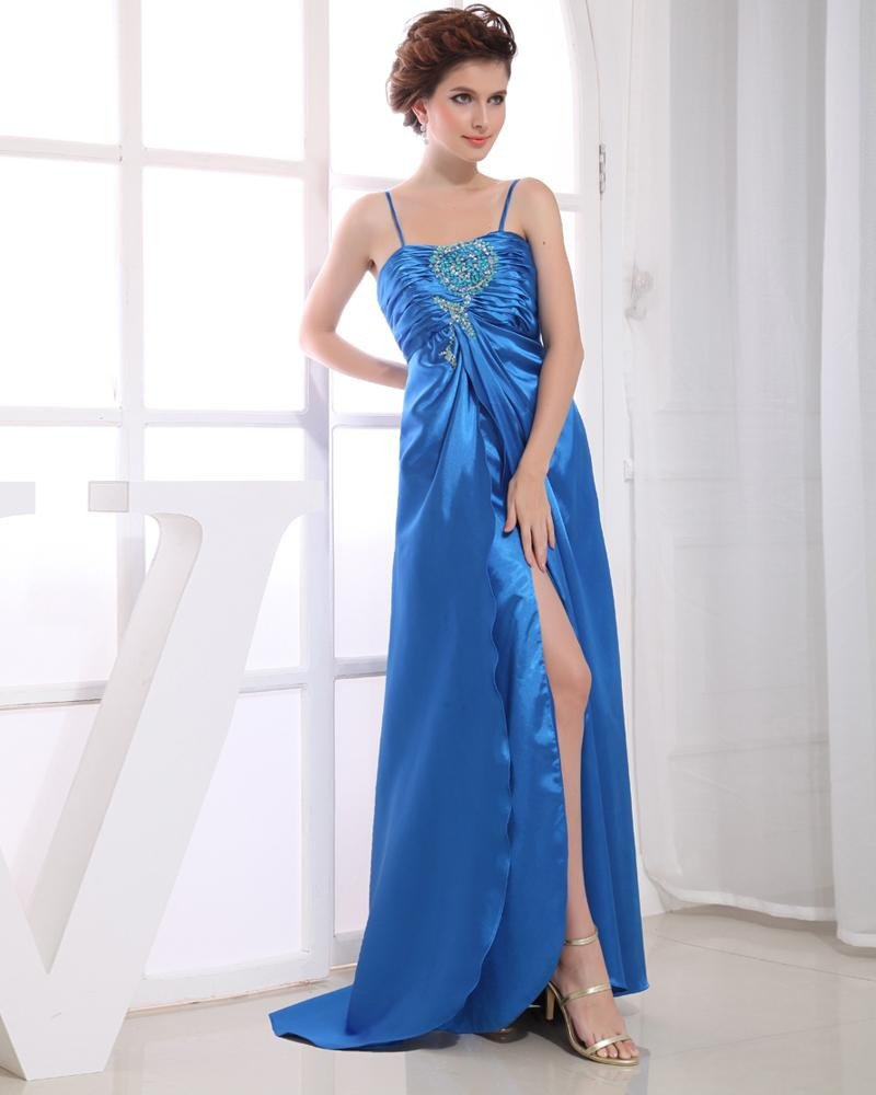 Charmeuse Spaghetti Straps Sequins Ruffle Sleeveless Backless Zipper Floor Length Pleated Slit Prom