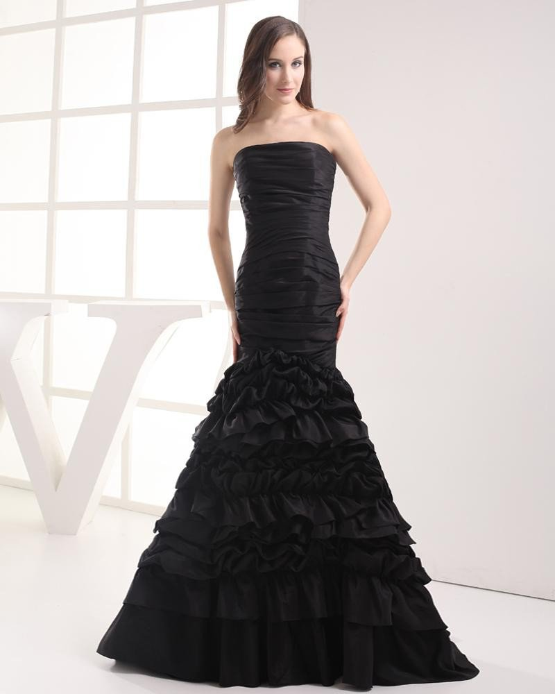 Fashion Taffeta Pleated Strapless Floor Length Celebrity Mermaid Prom Dress