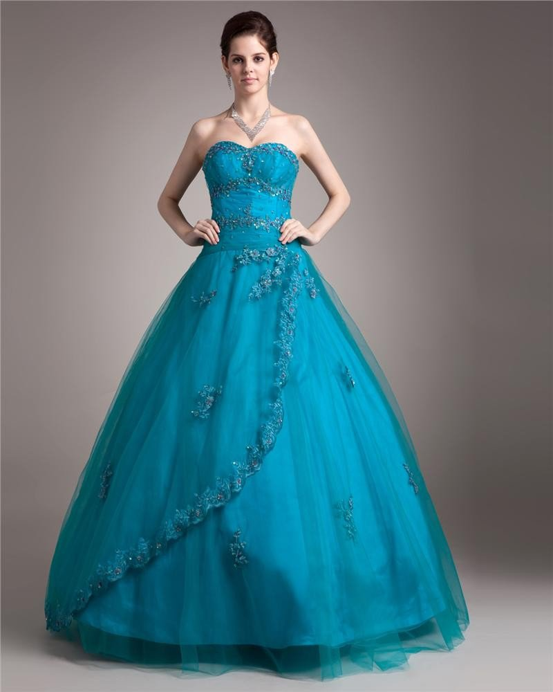 Ball Gown Yarn Satin Beading Applique Layered Sweetheart Floor Length Quinceanera Prom Dresses