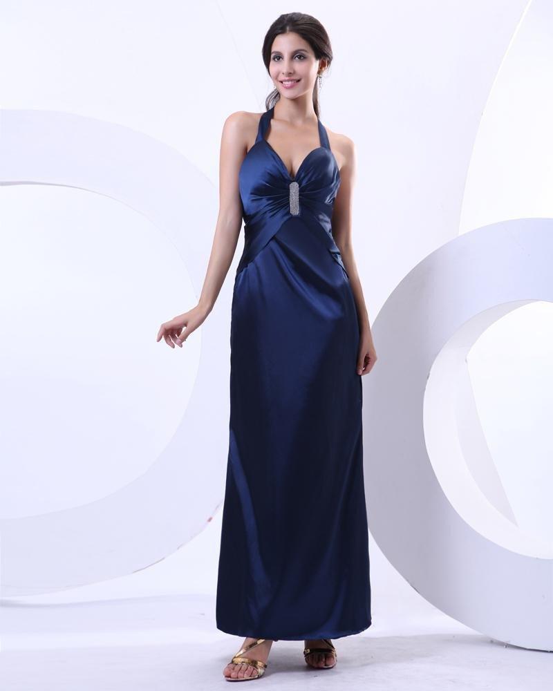 Satin Halter Ruffle Ankle Length Prom Dresses