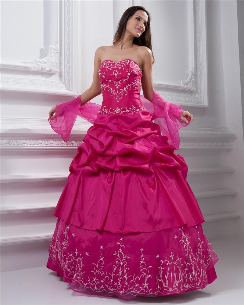 Ball Gown Taffeta Beading Applique Ruffle Sweetheart Floor Length Quinceanera Prom Dresses
