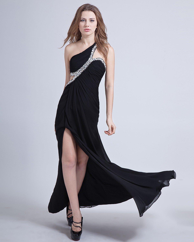 One Shoulder Sleeveless Floor Length Chiffon Prom Dresses