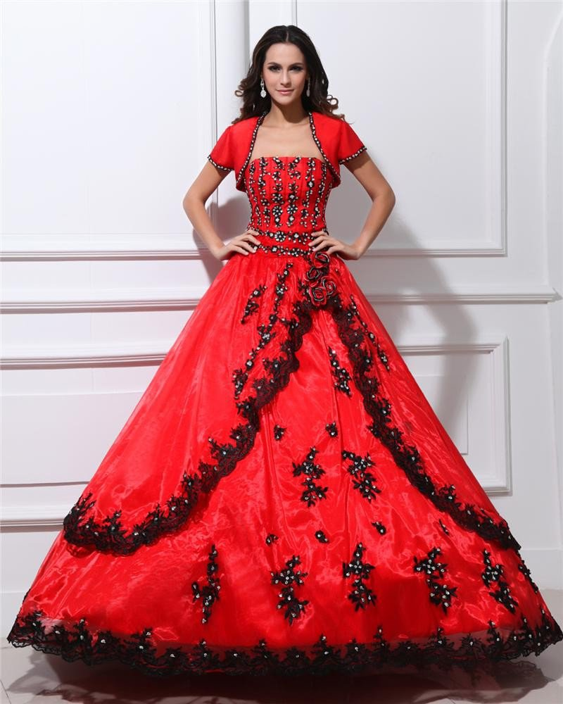 Ball Gown Taffeta Yarn Applique Beads Strapless Floor Length Quinceanera Prom Dresses