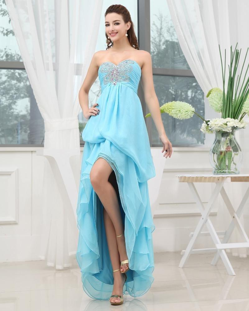 Chiffon Elastic Silk Like Satin Silk Sweetheart Beading Sleeveless Backless Floor Length Asymmetrica