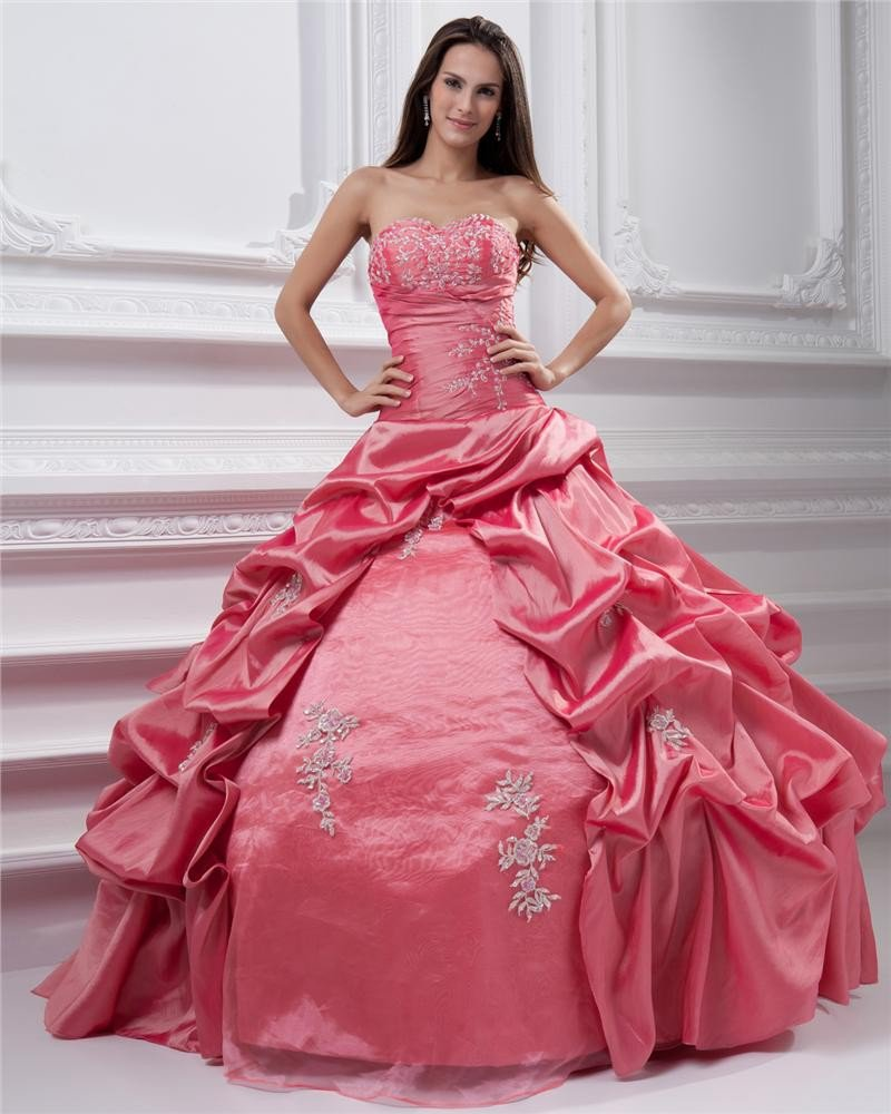 Ball Gown Sleeveless Taffeta Embroidery Ruffles Applique Sweetheart Floor Length Quinceanera Prom Dr