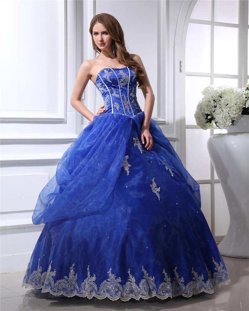 Ball Gown Floor Length Sweetheart Beading Applique Yarn Womens Quinceanera Prom Dress