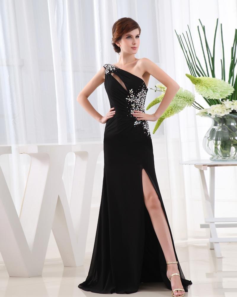 Chiffon Beading Slopping Flower Sleeveless Backless Floor Length Slit Prom Dress