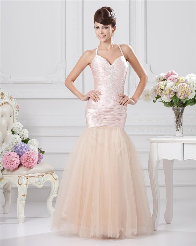 Trumpet Sweetheart Floor Length Taffeta Sewn Beads Prom Dresses