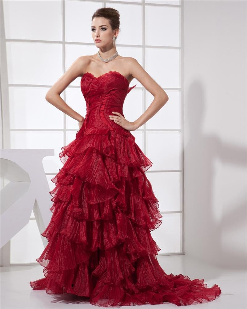 Stylish Tulle Applique Sweetheart Floor Length Prom Dresses
